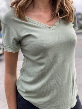 Tshirt manches courtes cotelé bord effiloché