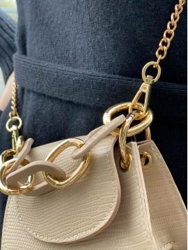 Sac porté travers mini façon reptile avec rabat et chaine gros maillon