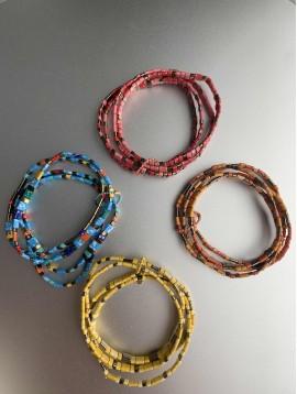 Bracelet éla - Multirangs de perles plates métal et style pierres