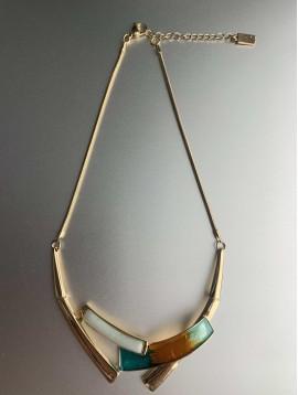 Collier - Rectangles résine/peinture nacré/métal