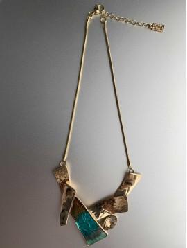 Collier - Trapèze en métal et peinture multi avec gros strass