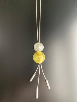 Collier Long - 1 Disque métal strass et 1 disque résine avec 3 perles