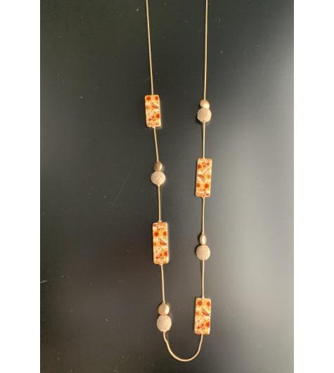 Collier Long - Boules en toile de jute et rectangles résine fleuri