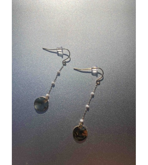 BO Acier dormeuses - Petites perles avec pastille