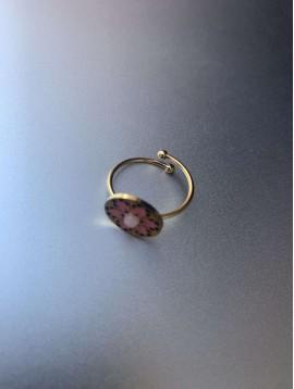 Bague Acier réglable - Pastille mosaique avec perle au centre
