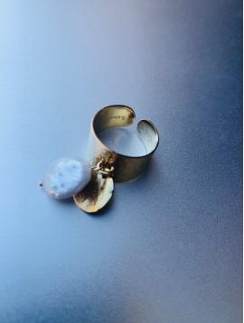 Bague Acier - Jonc avec perles cultures et étoile
