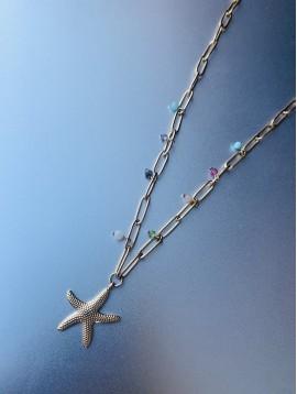 Collier Acier - Etoile de mer sur chaine gros maillons avec perles