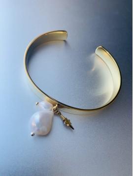 Bracelet Acier percées - Jonc avec perles cultures et étoile