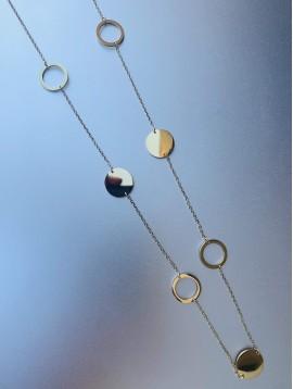 Collier Acier Long - Anneaux et pastilles miroir sur chaine