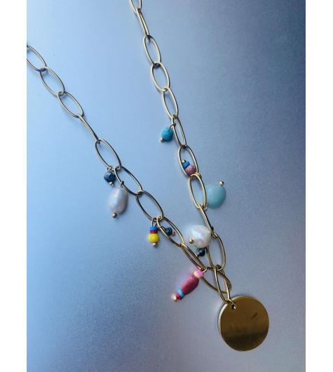 Collier Acier - Pastille avec point sur chaine gros maillons avec perl