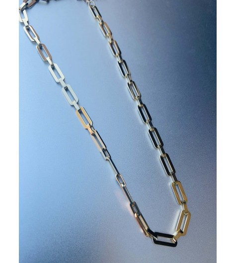 Collier Acier - Maillons plats style rectangle
