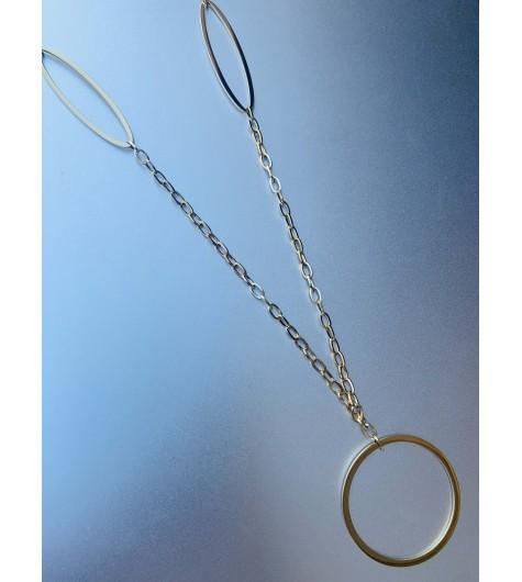 Collier Acier Long - Gros anneau et gros ovales sur chaine