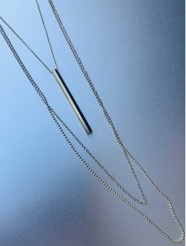 Collier Acier - 3 Rangs avec pendentif tube