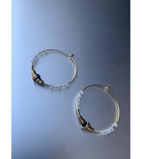 BO créoles Acier - Rondelles en métal et perles à facettes