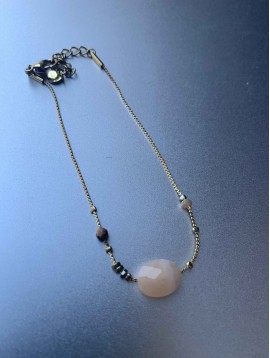 Bracelet Acier - Pierre à facettes sur chaine très fine