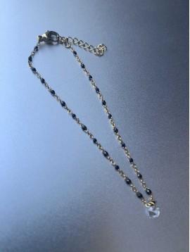Bracelet Acier - Mini perles sur chaine fine avec 1 strass