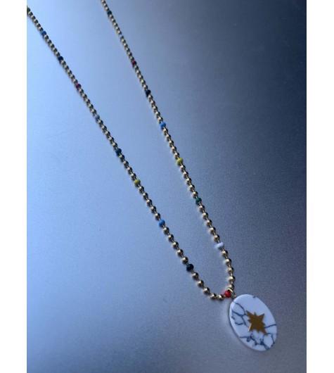 Collier Acier - Ovale en pierre avec étoile sur chaine boule