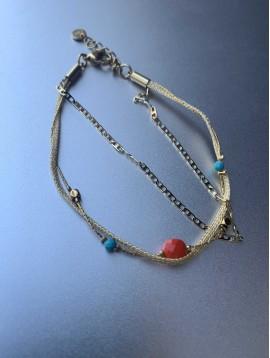 Bracelet Acier - 3 Rangs avec perles facettes/chaines