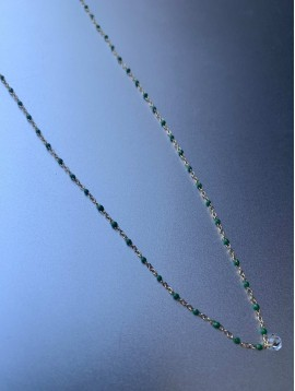 Collier Acier - Mini perles sur chaine fine avec 1 strass