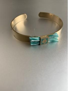 Bracelet Acier - Jonc feuille avec franges fils