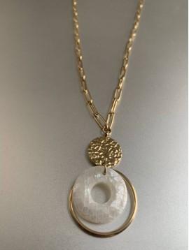 Collier Acier Long - Gros maillons et pendentif avec anneau nacre