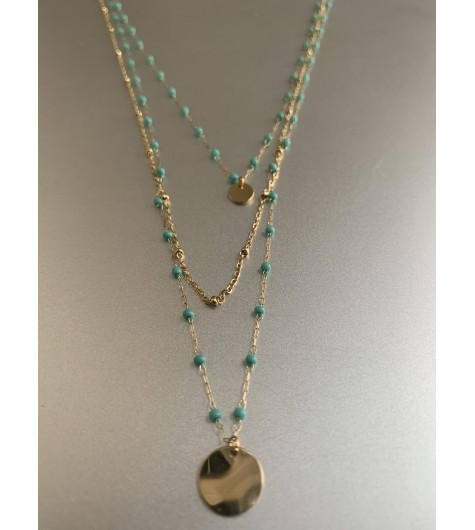 Collier Acier - 3 Rangs petites perles avec pastilles