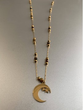 Collier Acier - Lune avec étoiles sur chaine fine avec perles pierres