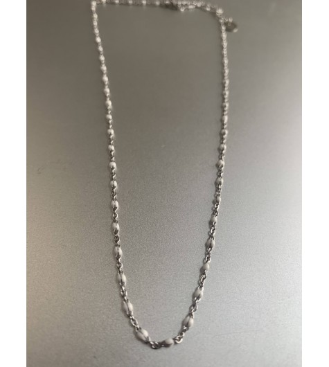 Stainless Steel Necklace - Small coloured beads.