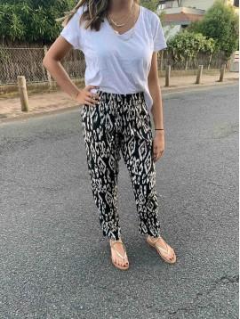 Pantalon impr style léopard moderne