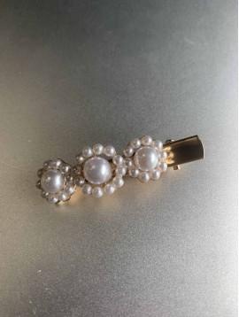 Barrette à cheveux - Fleurs en perles rondes