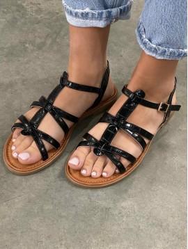 Sandales multi liens façon croco