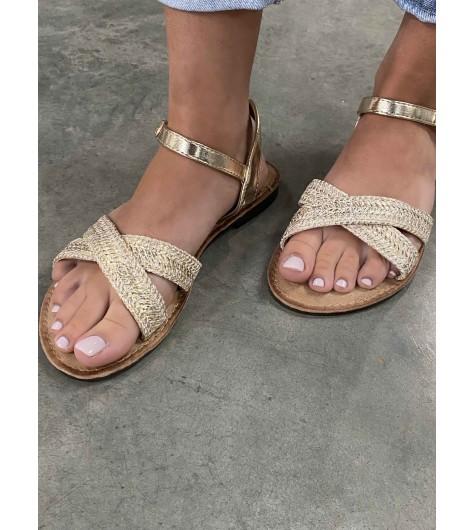 Sandales façon tressées lurex