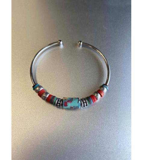 Bracelet aimant - Multirangs avec perles ovales striés