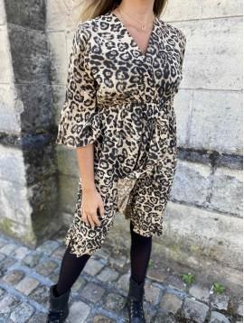 Robe imprimée leopard élastique à la taille