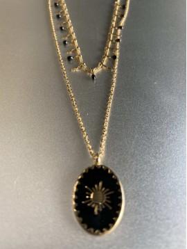 Collier Acier - 2 rangs pendentif ovale émaillé sur chaine fine