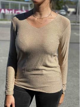 Tshirt manches longues unie maille chic avec laine et angora