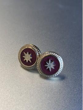BO percée Acier - Pastille pierre sertie strié avec étoile