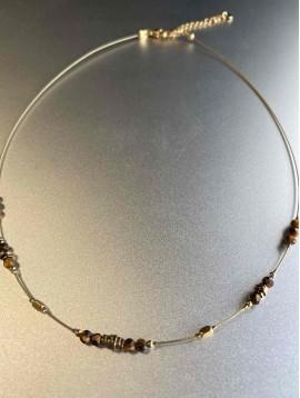Collier Acier - Perles et anneaux sur cable
