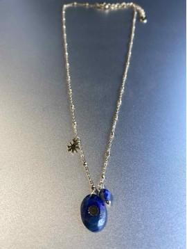 Collier Acier - Pierre Naturelle ovale avec roscaet chaine avec perles