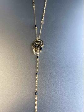 Collier Acier - Long en Y Rosace et chaine avec perles