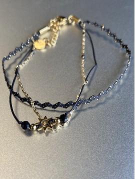 Bracelet Acier - Multirangs soleil tissu et fil avec fermoir