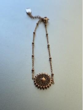 Bracelet Acier - Rond strass étoile sur chaîne fine et boules
