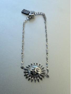 Bracelet Acier - Soleil métal sur chaîne fine