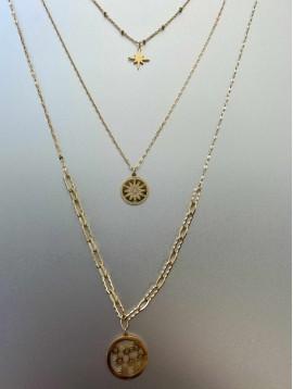 Collier Acier - Long triple rangs Rond filigranne fleurs sur chaîne