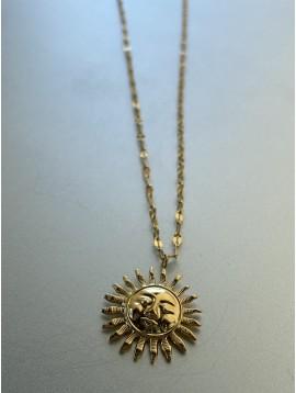 Collier Acier - Pendentif soleil métal sur chaîne fine