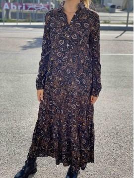 Robe longue viscose imprimée à col motif cashemire