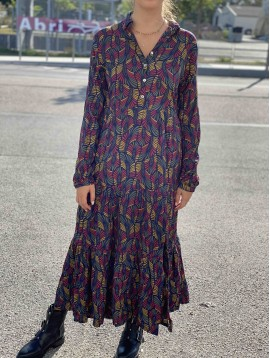Robe longue viscose imprimée à col motif feuilles multi