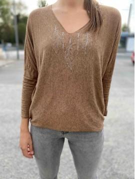 Tshirt manches longues oversized 3 plumes avec laine et angora