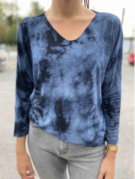 Tshirt manches longues tie and dye  avec laine et angora