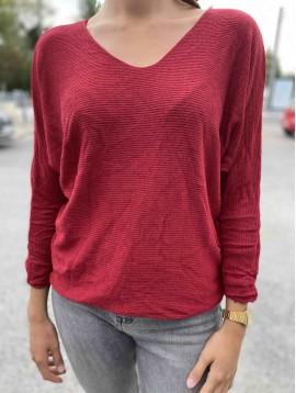 Tshirt manches longues oversized unie maille chic avec laine et angora